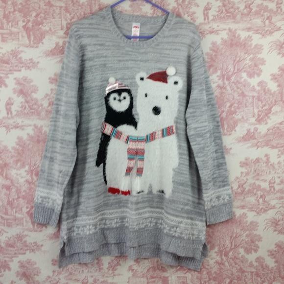 735acdda991 Holiday Time Tops - Christmas Sweater Polar Bear Penguin Silver 3X 22w